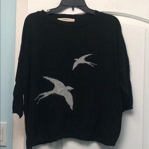 Zara knit black sweater gray birds sz M